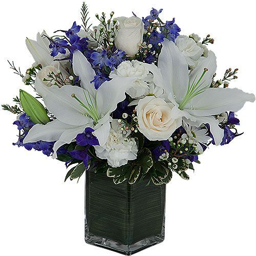 funeral flowers arrangements | Sky | White and Blue Sympathy Flowers | Canada Flowers::