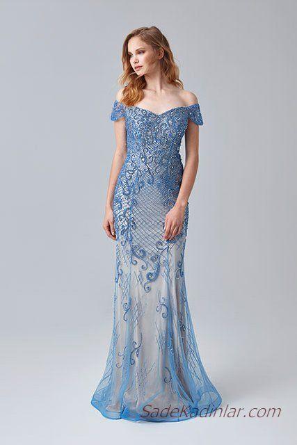 2019 Abiye Elbise Modelleri Mavi Uzun Omzu Acik Dusuk Kol Boncuk Islemeli Elbise Modelleri Elbise The Dress
