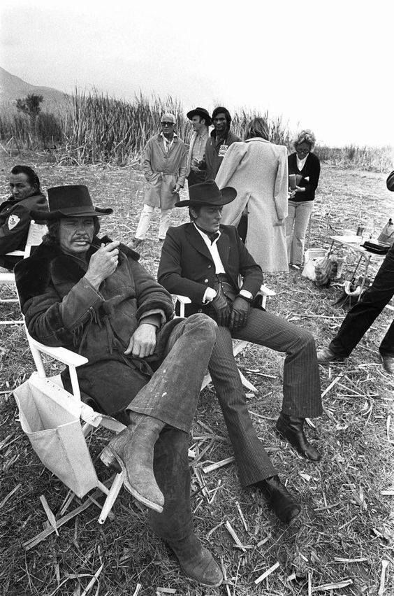 "Charles Bronson and Alain Delon on the set of ""Red Sun"", 1972."