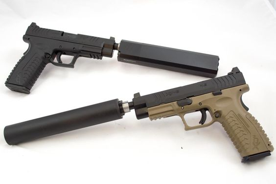 First Look: Springfield Armory XD(M) Threaded Barrel Models, Silence anyone? The new Springfield Armory XD(M) Threaded 45 (top) and 9mm (bottom)