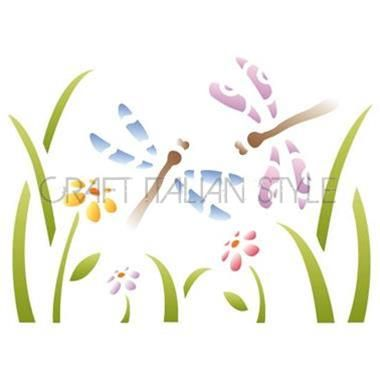 Stencil D 20x15 cm Flores y libélulas