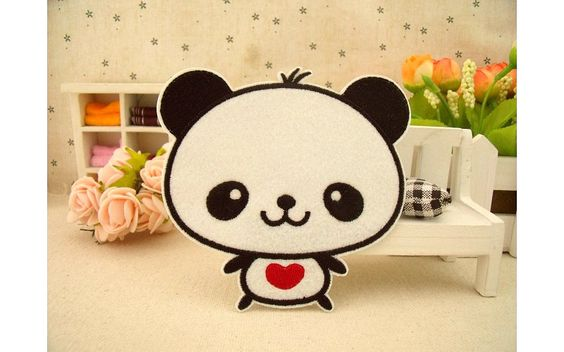 New to craftapplique on Etsy: Cute panda Animal Cartoon patch Handmade Patches wholesale embroidered patch panda patch iron on patch sew on patch patchwork patch A4 (1.90 USD)