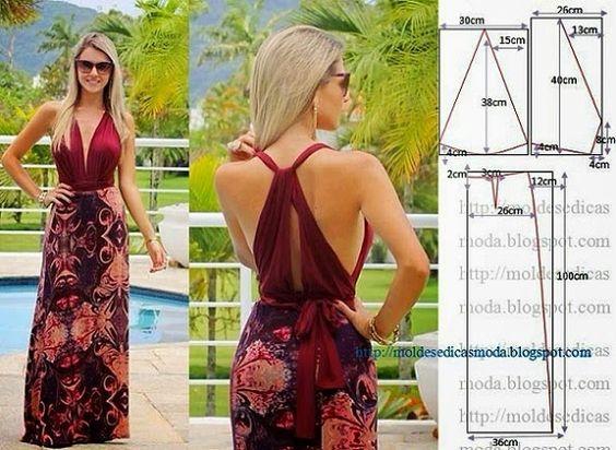 PASSO A PASSO MOLDE DE VESTIDO Corte um retângulo de tecido com a altura elargura que pretende para a saia costas e frentes. Dobre ao meio o retângulo. De
