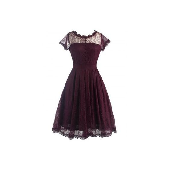 Retro Laciness Back V Dress For Women (33 BAM) ❤ liked on Polyvore featuring dresses, lace back dress, retro-style dresses, purple dress, retro-inspired dresses and retro print dress