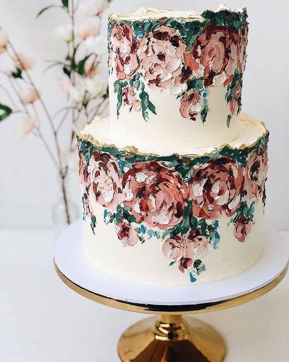 Hand painted flowers on wedding cake for unique wedding cake design #weddingcake #weddingcakeinspiration #weddingcakedesign