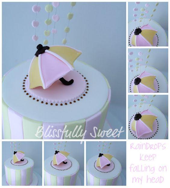 Umbrella Themed Baby Shower Cake