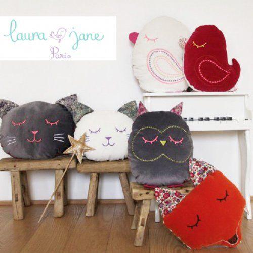 Les coussins et doudous animaux de laura jane paris for Idee de creation d entreprise animaux
