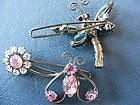 Alex and Ani Bee Flower Butterfly Hair Barrette Tie Bobby Pin Pink Rhinestones