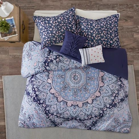 4pc Twin/Twin XL Willow Boho Comforter Set: Target Blue Comforter Blue Bedding Mandala Set, cute Blankets Duvet | soyvirgo.com