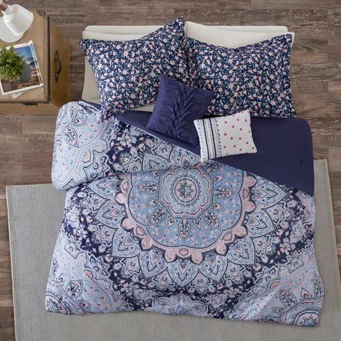 4pc Twin/Twin XL Willow Boho Comforter Set: Target Blue Comforter Blue Bedding Mandala Set, cute Blankets Duvet | soyvirgo.com