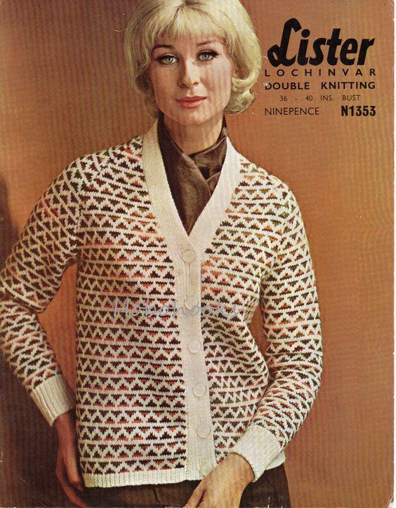 ladies fair isle cardigan knitting pattern pdf womens fairisle ...