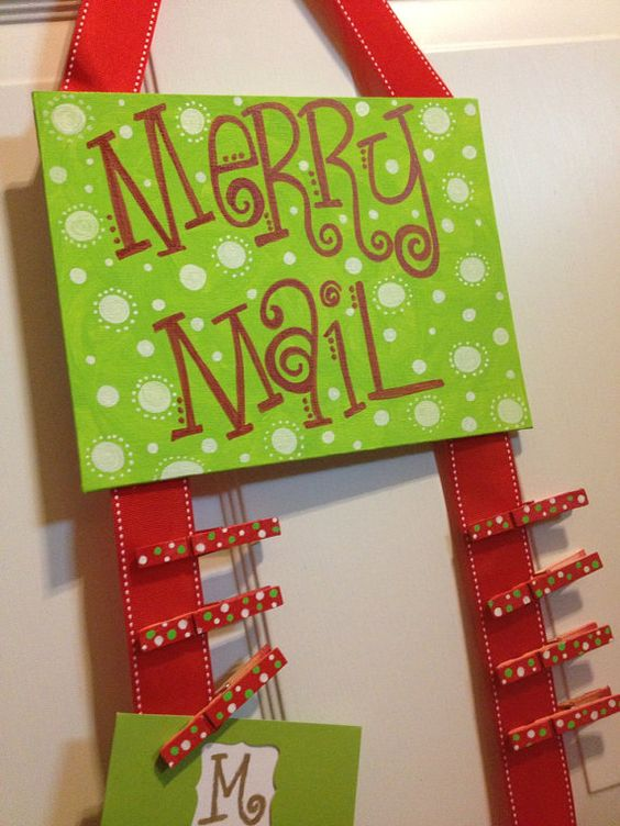 Merry Mail hand painted flat 8x10 canvas w ribbon and clothes pins for hanging Christmas cards on Etsy, $12.00