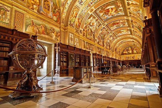 The Library of the Royal Site of San Lorenzo de El Escorial, Spain Photography by cuellar Flickr.com