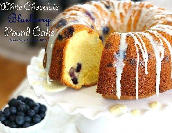 White Chocolate Blueberry Pound Cake - melissassouthernstylekitchen.com