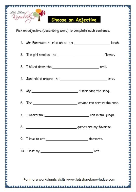 Page 7 Parts Of Speech Worksheet Parts Of Speech Worksheets, Parts Of  Speech, Describing Words