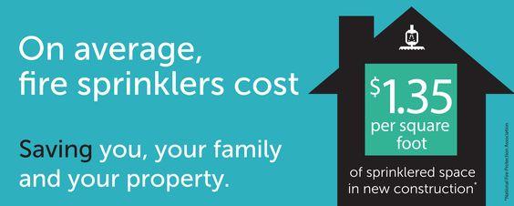 On average, fire sprinklers cost $1.35 per square foot. Learn more: www.homefiresprinkler.org