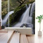 natural bathroom designs with mural wallpaper