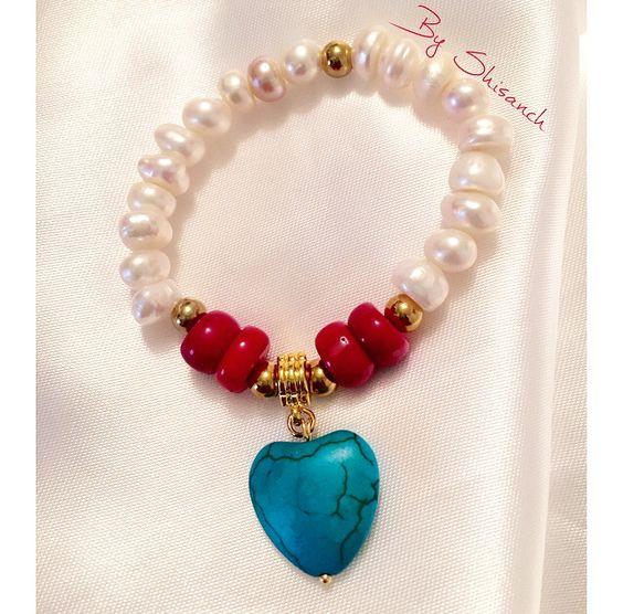 Pulsera elaborada en piedras naturales perlas de r o coral for Piedras naturales