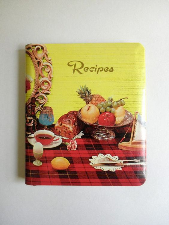 Colorful Blank Recipe Book 50s 60s Hardback with 8 by JackpotJen