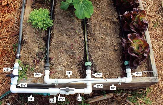 How To Build A Drip Irrigation System Diy Mother Earth News Garden Watering System Irrigation System Diy Garden Irrigation System