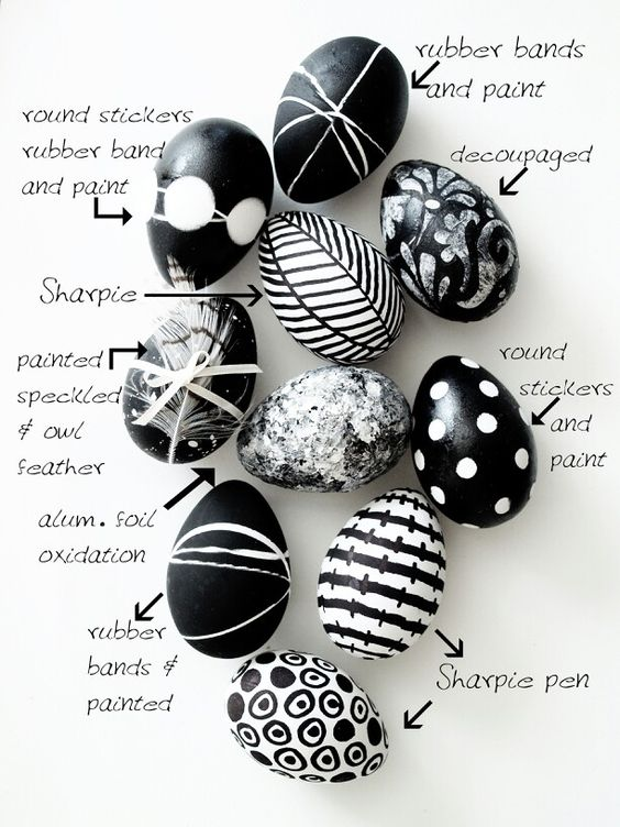 Black and white Easter egg idea: