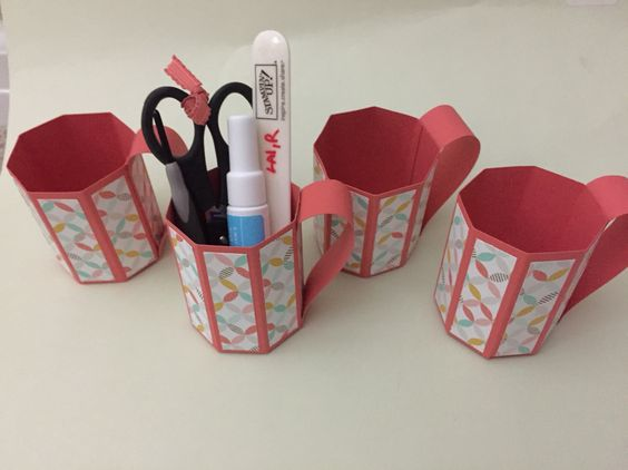 Paper mugs. Easiest template and can hold items like you snip scissors, bone folder, two way glue, paper piercer. Stampin up fun.