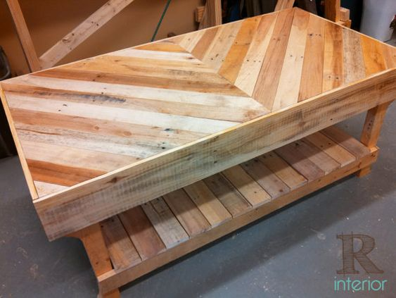 Wood coffee tables, Reclaimed wood coffee table and Chevron home