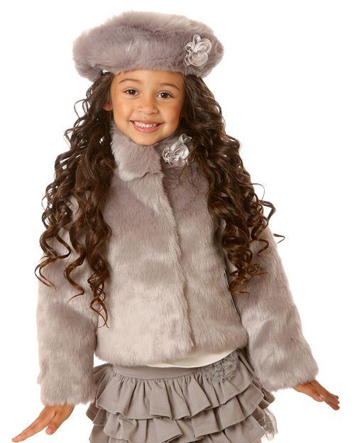 Girls White Fur Coat