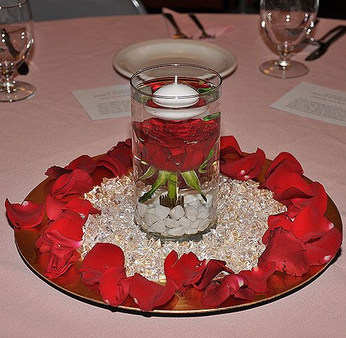 Floating Petals Centerpieces: Love This Centerpiece With The Floating Candle Over The