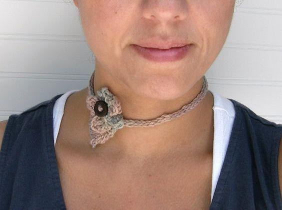 FREE SHIPPING Hand Knit Flower Headband Choker by WindyCityKnits #fashion #necklace