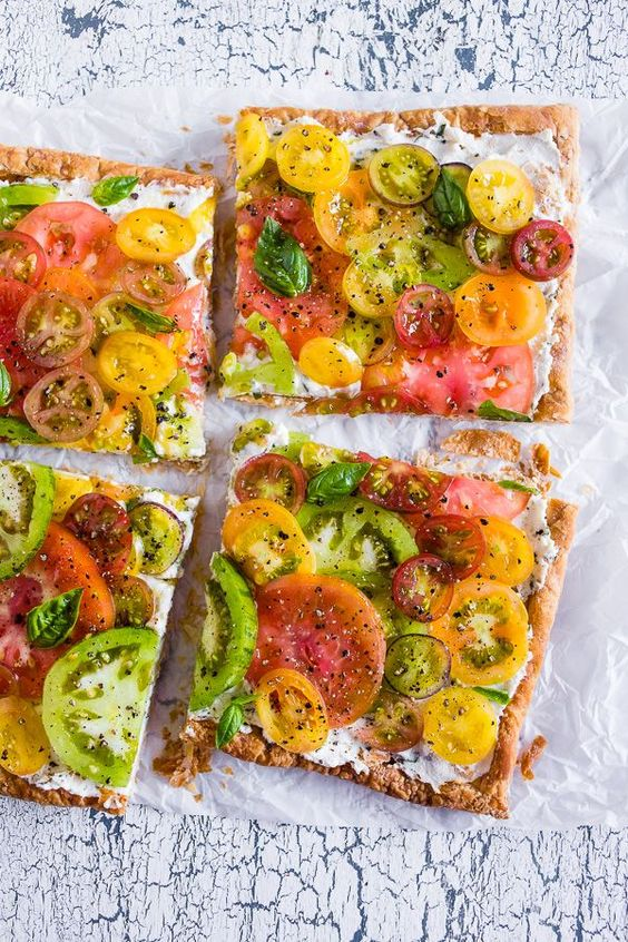 ... heirloom tomato tart is made with puff pastry, lemon and fresh