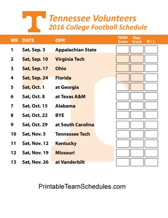 Tennessee Volunteers  Football Schedule 2016. Printable Schedule Here - http://printableteamschedules.com/collegefootball/tennesseevolunteers.php