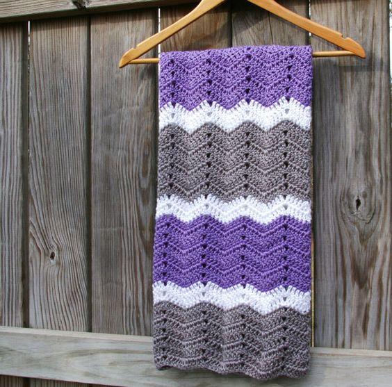 Crochet Baby Afghan in Lavender Purple, Grey, White Baby Blanket ...