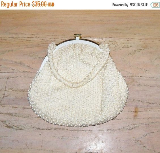 Vintage Beaded Handbag Purse by Corde Bead Off White Wedding Bridal Party Prom Christmas Gift for Her