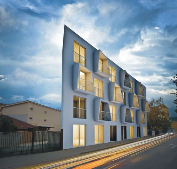 an angular concrete apartment building in slovakia. Black Bedroom Furniture Sets. Home Design Ideas