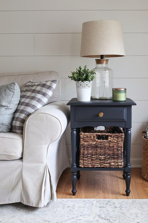 Side Table Makeover With Black Paint Table Decor Living Room