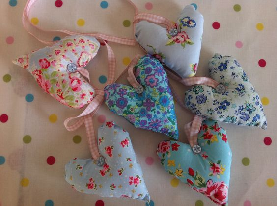 Blue fabric heart garland   £8.50 from   www.facebook.com/patchworkandlace