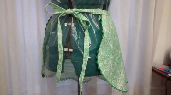 Floral patterned green trim half apron from vintage materials by SquidgeonBean on Etsy