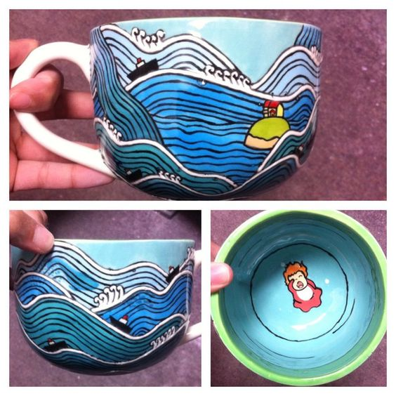Inspired by Studio Ghibli's Ponyo handpainted microwave and dishwasher safe