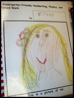 The laminated cover of Kindergarten-Friendly Handwriting, Phonics, and Word Work book from Laura Flocker's class protects the self portrait.