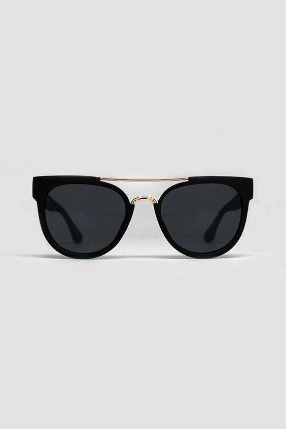QUAY AUSTRALIA ODIN Black Gold Metal Detail Round Sunglasses