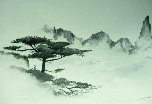 Serenite Chine Paysage Paysage Chinois Dessin Paysage