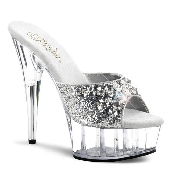 PLEASER DELIGHT-601BJ Silver Glitter-Clear Platform Slides