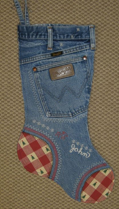 2. Cute denim stocking to decorate with and stuff during Christmas.: