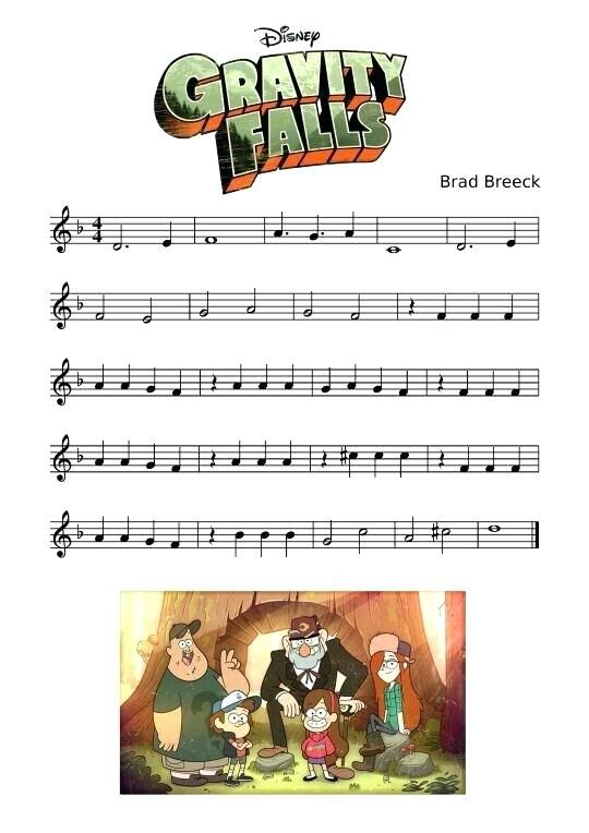 Gravity Falls Theme Song Piano Sheet Music Google Search With