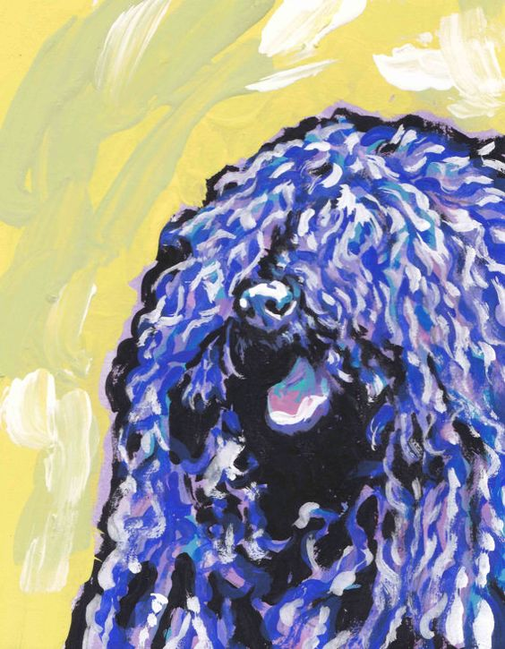 Puli dog art print of pop art dog painting by LEA by BentNotBroken