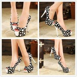Sexy White-Black Open Peep Toe Stiletto Super High Heel Basic Pumps $23.50