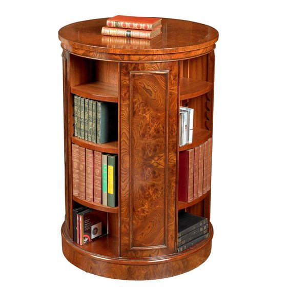 Tall Revolving Elm Round Bookcase - would like to see it in black.  ScullyandScully.com