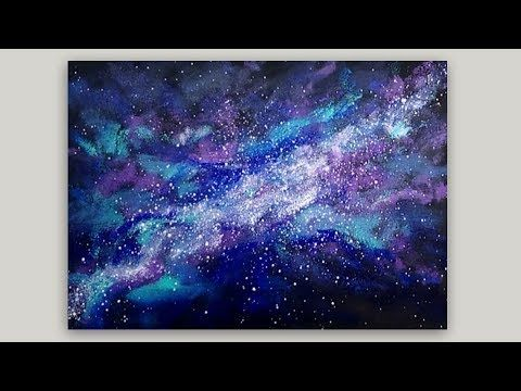 Sponge Painting A Galaxy With Acrylic Paint Easy Sponge Painting
