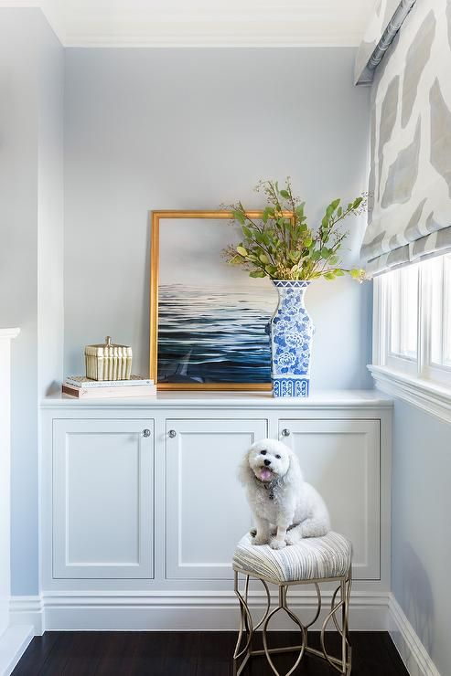 Sometimes A Simple Built In Will Just Do The Trick Light Blue Gray Walls Surround A White Built In Cabinet I Blue Grey Walls Blue Walls Living Room Grey Walls